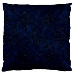 Damask1 Black Marble & Blue Grunge (r) Large Flano Cushion Case (one Side) by trendistuff