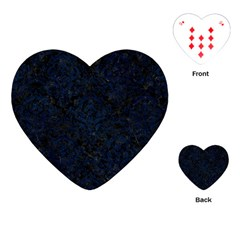 Damask1 Black Marble & Blue Grunge Playing Cards (heart) by trendistuff