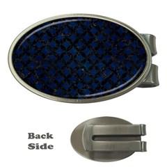 Circles3 Black Marble & Blue Grunge (r) Money Clip (oval) by trendistuff
