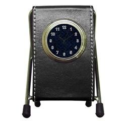 Circles3 Black Marble & Blue Grunge (r) Pen Holder Desk Clock by trendistuff