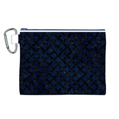 Circles3 Black Marble & Blue Grunge (r) Canvas Cosmetic Bag (large) by trendistuff
