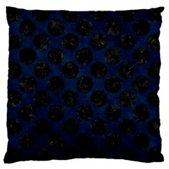 Circles2 Black Marble & Blue Grunge (r) Large Cushion Case (one Side) by trendistuff