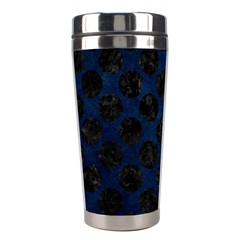 Circles2 Black Marble & Blue Grunge (r) Stainless Steel Travel Tumbler by trendistuff