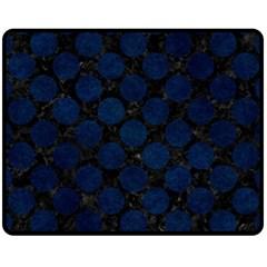 Circles2 Black Marble & Blue Grunge Fleece Blanket (medium) by trendistuff