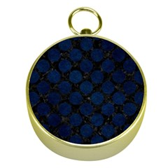 Circles2 Black Marble & Blue Grunge Gold Compass by trendistuff
