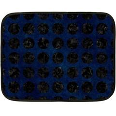 Circles1 Black Marble & Blue Grunge (r) Fleece Blanket (mini) by trendistuff