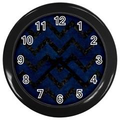 Chevron9 Black Marble & Blue Grunge (r) Wall Clock (black) by trendistuff