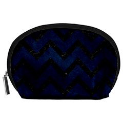 Chevron9 Black Marble & Blue Grunge (r) Accessory Pouch (large) by trendistuff