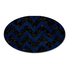 Chevron9 Black Marble & Blue Grunge Magnet (oval) by trendistuff