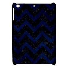 Chevron9 Black Marble & Blue Grunge Apple Ipad Mini Hardshell Case by trendistuff