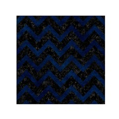 Chevron9 Black Marble & Blue Grunge Small Satin Scarf (square) by trendistuff