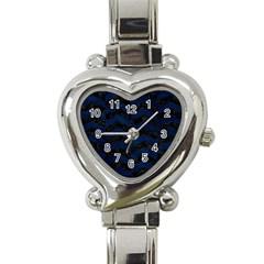 Chevron2 Black Marble & Blue Grunge Heart Italian Charm Watch by trendistuff