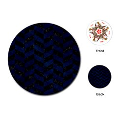 Chevron1 Black Marble & Blue Grunge Playing Cards (round) by trendistuff