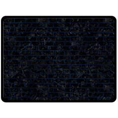 Brick1 Black Marble & Blue Grunge Fleece Blanket (large) by trendistuff