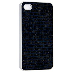 Brick1 Black Marble & Blue Grunge Apple Iphone 4/4s Seamless Case (white) by trendistuff