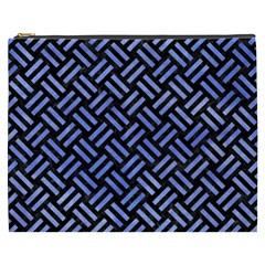 Woven2 Black Marble & Blue Watercolor Cosmetic Bag (xxxl) by trendistuff