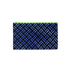 Woven2 Black Marble & Blue Watercolor Cosmetic Bag (xs) by trendistuff