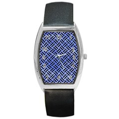 Woven2 Black Marble & Blue Watercolor (r) Barrel Style Metal Watch by trendistuff