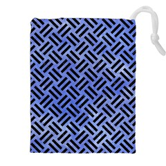 Woven2 Black Marble & Blue Watercolor (r) Drawstring Pouch (xxl) by trendistuff
