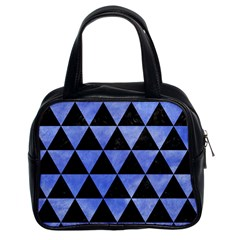 Triangle3 Black Marble & Blue Watercolor Classic Handbag (two Sides) by trendistuff