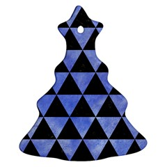 Triangle3 Black Marble & Blue Watercolor Ornament (christmas Tree)  by trendistuff