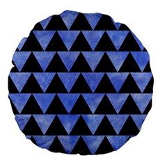 Triangle2 Black Marble & Blue Watercolor Large 18  Premium Flano Round Cushion  by trendistuff