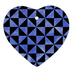 Triangle1 Black Marble & Blue Watercolor Heart Ornament (two Sides) by trendistuff