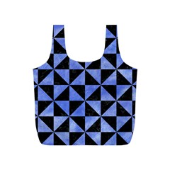 Triangle1 Black Marble & Blue Watercolor Full Print Recycle Bag (s) by trendistuff