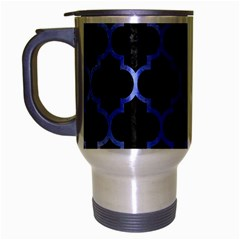 Tile1 Black Marble & Blue Watercolor Travel Mug (silver Gray) by trendistuff