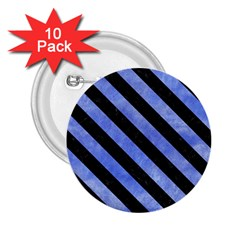 Stripes3 Black Marble & Blue Watercolor (r) 2 25  Button (10 Pack) by trendistuff