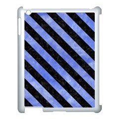 Stripes3 Black Marble & Blue Watercolor (r) Apple Ipad 3/4 Case (white) by trendistuff