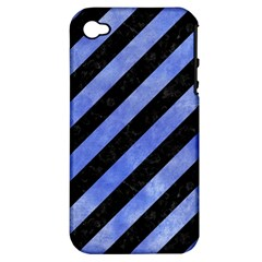 Stripes3 Black Marble & Blue Watercolor Apple Iphone 4/4s Hardshell Case (pc+silicone) by trendistuff