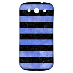 Stripes2 Black Marble & Blue Watercolor Samsung Galaxy S3 S Iii Classic Hardshell Back Case by trendistuff