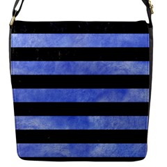 Stripes2 Black Marble & Blue Watercolor Flap Closure Messenger Bag (s) by trendistuff