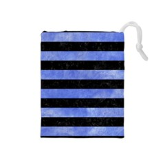 Stripes2 Black Marble & Blue Watercolor Drawstring Pouch (medium) by trendistuff