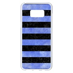 Stripes2 Black Marble & Blue Watercolor Samsung Galaxy S8 Plus White Seamless Case by trendistuff