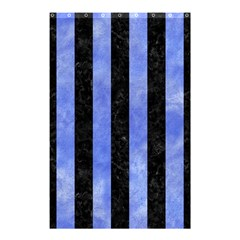 Stripes1 Black Marble & Blue Watercolor Shower Curtain 48  X 72  (small) by trendistuff
