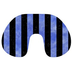Stripes1 Black Marble & Blue Watercolor Travel Neck Pillow by trendistuff