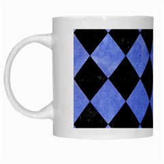 Square2 Black Marble & Blue Watercolor White Mug by trendistuff