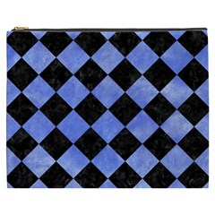 Square2 Black Marble & Blue Watercolor Cosmetic Bag (xxxl) by trendistuff