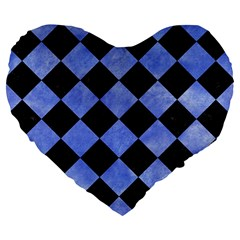 Square2 Black Marble & Blue Watercolor Large 19  Premium Heart Shape Cushion by trendistuff