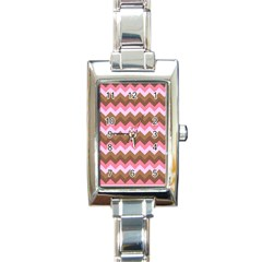 Shades Of Pink And Brown Retro Zigzag Chevron Pattern Rectangle Italian Charm Watch by Nexatart