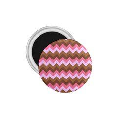 Shades Of Pink And Brown Retro Zigzag Chevron Pattern 1 75  Magnets by Nexatart