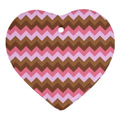 Shades Of Pink And Brown Retro Zigzag Chevron Pattern Ornament (heart) by Nexatart