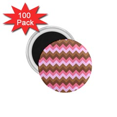Shades Of Pink And Brown Retro Zigzag Chevron Pattern 1 75  Magnets (100 Pack)  by Nexatart