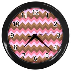 Shades Of Pink And Brown Retro Zigzag Chevron Pattern Wall Clocks (black) by Nexatart