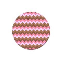 Shades Of Pink And Brown Retro Zigzag Chevron Pattern Magnet 3  (round) by Nexatart