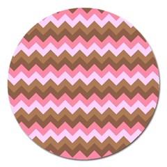 Shades Of Pink And Brown Retro Zigzag Chevron Pattern Magnet 5  (round) by Nexatart