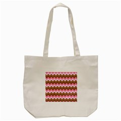 Shades Of Pink And Brown Retro Zigzag Chevron Pattern Tote Bag (cream) by Nexatart
