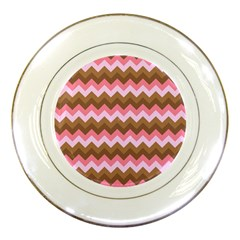 Shades Of Pink And Brown Retro Zigzag Chevron Pattern Porcelain Plates by Nexatart